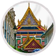 Entryway To Middle Court Of Grand Palace Of Thailand In Bangkok Round Beach Towel