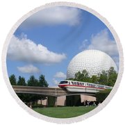 Epcot And The Monorail Ride Round Beach Towel