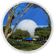 Epcot Globe 02 Round Beach Towel by Thomas Woolworth