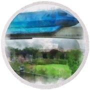 Epcot Globe And Blue Monorail Walt Disney World Photo Art 01 Round Beach Towel