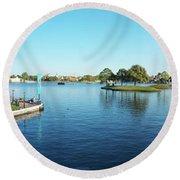 Epcot World Showcase Lagoon Panorama 05 Walt Disney World Round Beach Towel