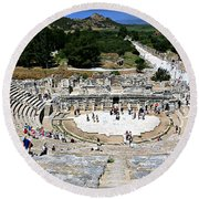 Theater Of Ephesus Round Beach Towel