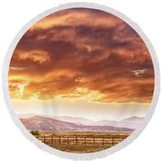 Epic Colorado Country Sunset Landscape Panorama Round Beach Towel