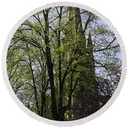 Episcopal Cathedral In Edinburgh Visible Through Trees Round Beach Towel