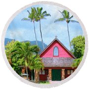 Episcopal Church In Kapaa Round Beach Towel