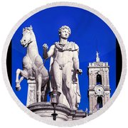 Equestrian Statue At Capitoline Hill Round Beach Towel