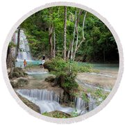 Erawan National Park In Thailand Round Beach Towel