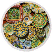Erice Sicily Plates Yellow Round Beach Towel