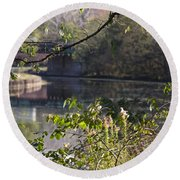 Erie Canal At Bushnell Basin Round Beach Towel