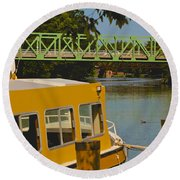 Erie Canal At Pittsford Ny Round Beach Towel