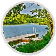 Erie Canal Dockage Round Beach Towel