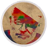 Ernest Hemingway Watercolor Portrait On Worn Distressed Canvas Round Beach Towel