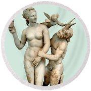 Aphrodite, Pan And Eros Round Beach Towel