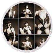Erotic Beauty Collage 14 Round Beach Towel