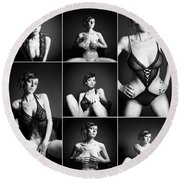 Erotic Beauty Collage 16 Round Beach Towel