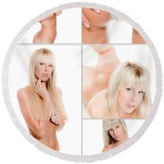 Erotic Beauty Collage 17 Round Beach Towel