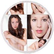 Erotic Beauty Collage 19 Round Beach Towel