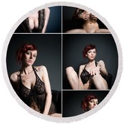 Erotic Beauty Collage 23 Round Beach Towel