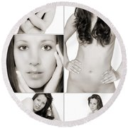 Erotic Beauty Collage 28 Round Beach Towel
