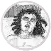 Erotic-drawings-24 Round Beach Towel