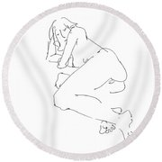 Erotic-female-drawings-21 Round Beach Towel
