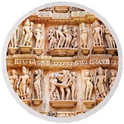 Erotic Human Sculptures Khajuraho India Round Beach Towel