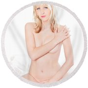 Erotic Nude Portrait On White Bed Round Beach Towel