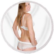 Erotic Rear View Round Beach Towel