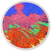Erupting Lava Meets The Sea Round Beach Towel by Joseph Baril