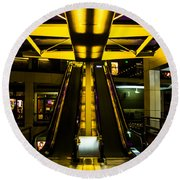Escalator Lights Round Beach Towel