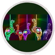 Escape Of The Carousel Horses Round Beach Towel