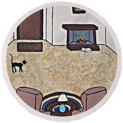 Essence Of Home - Black And White Cat In Living Room Round Beach Towel