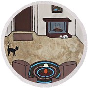 Essence Of Home - Cat By Fireplace Round Beach Towel