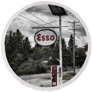 Esso Sign And Pump Round Beach Towel
