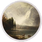 Estes Park Colorado Whytes Lake Round Beach Towel