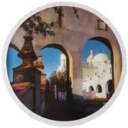 Esther Henderson Photo Back North Entrance  Of San Xavier Mission Tucson Arizona 1957-2013  Round Beach Towel