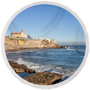Estoril Coastline In Portugal Round Beach Towel