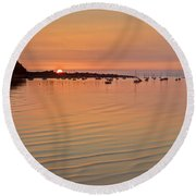 Estruary Harbour Sunset Round Beach Towel