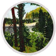 Estuary In Oregon Round Beach Towel
