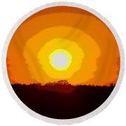 Eternal Sun - Amazing Sunset Photograph - Painting Like Round Beach Towel