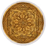 Eternity Mandala Leather Round Beach Towel