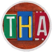 Ethan License Plate Name Sign Fun Kid Room Decor. Round Beach Towel
