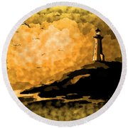 Ethereal Lighthouse Round Beach Towel
