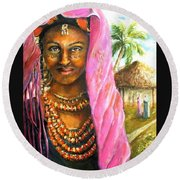 Ethiopia Bride Round Beach Towel