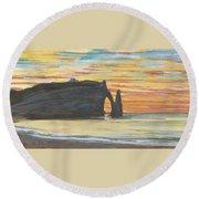 Etretat. Cliff Of Aval Round Beach Towel