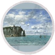 Etretat. The Cliff Of Aval Round Beach Towel