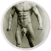 Eugen Sandow In Classical Ancient Greco Roman Pose Round Beach Towel by American Photographer