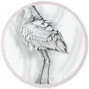 Eurasian Spoonbill - Platalealeucorodia Round Beach Towel