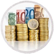 Euro Currency Round Beach Towel