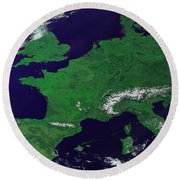 Europe From Above Round Beach Towel